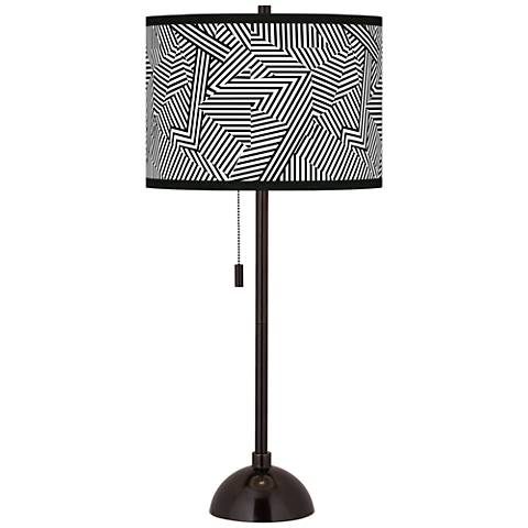 Labyrinth Giclee Glow Tiger Bronze Club Table Lamp