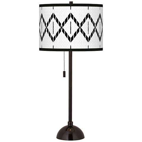Paved Desert Giclee Glow Tiger Bronze Club Table Lamp