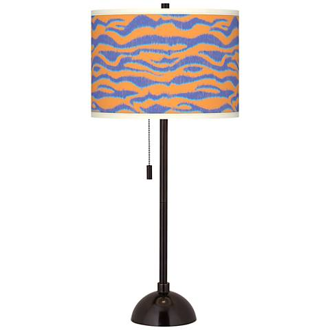 Sunset Stripes Giclee Glow Tiger Bronze Club Table Lamp