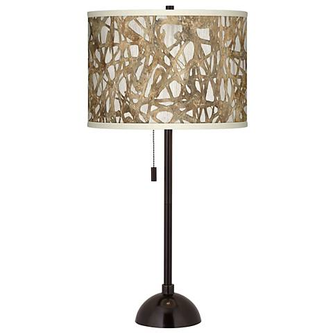 Organic Nest Giclee Glow Tiger Bronze Club Table Lamp