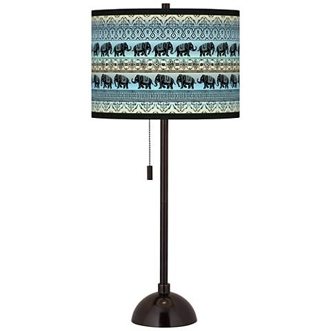 Elephant March Giclee Glow Tiger Bronze Club Table Lamp