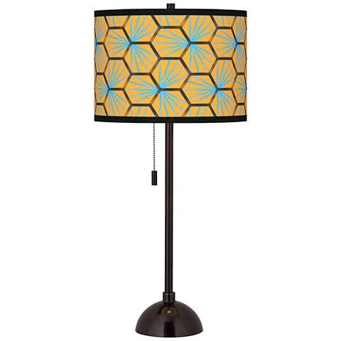 Hexagon Starburst Giclee Glow Tiger Bronze Club Table Lamp