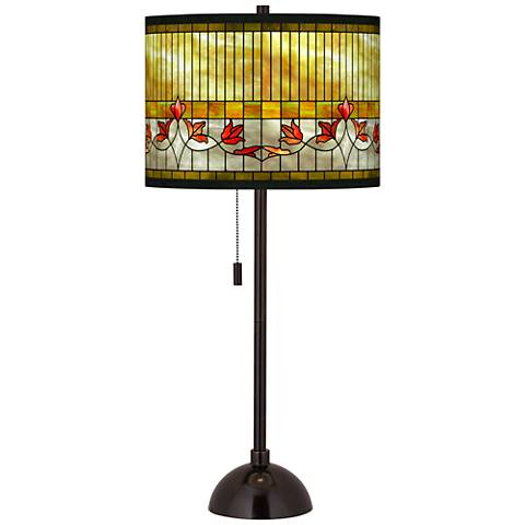 Tiffany-Style Lily Giclee Glow Tiger Bronze Club Table Lamp