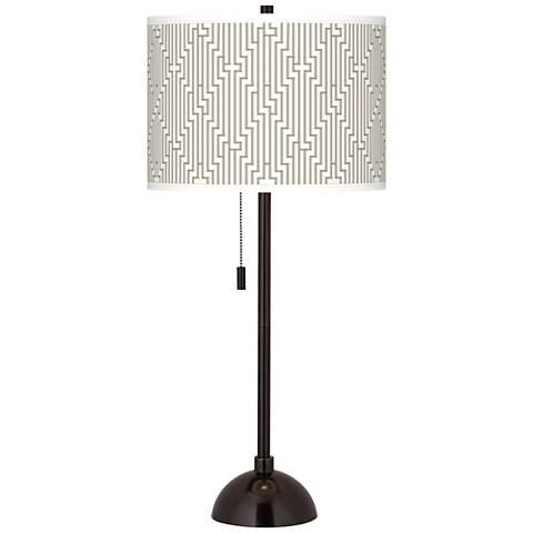 Diamond Maze Giclee Glow Tiger Bronze Club Table Lamp