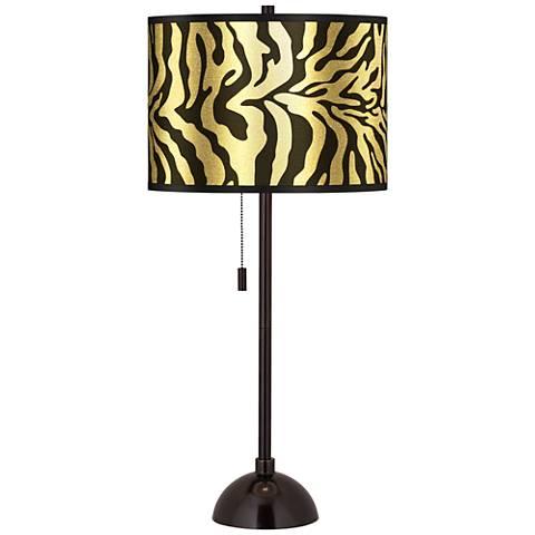 Safari Zebra Gold Metallic Tiger Bronze Club Table Lamp