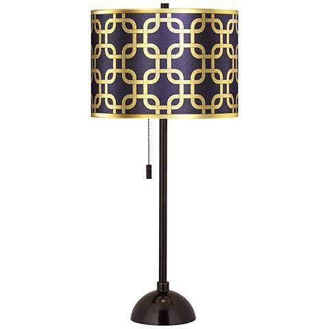 Lattice Gold Metallic Giclee Glow Tiger Bronze Club Table Lamp