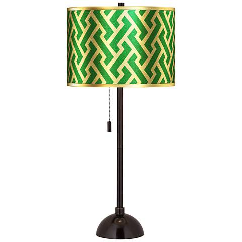 Brick Weave Gold Metallic Tiger Bronze Club Table Lamp