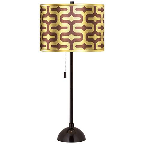 Reflection Gold Metallic Giclee Glow Tiger Bronze Club Table Lamp