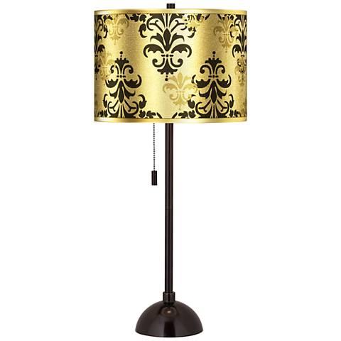 Damask Shadow Gold Metallic Tiger Bronze Club Table Lamp
