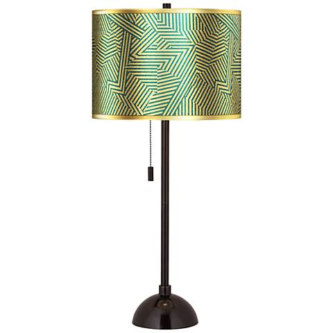Labyrinth Gold Metallic Giclee Glow Tiger Bronze Club Table Lamp