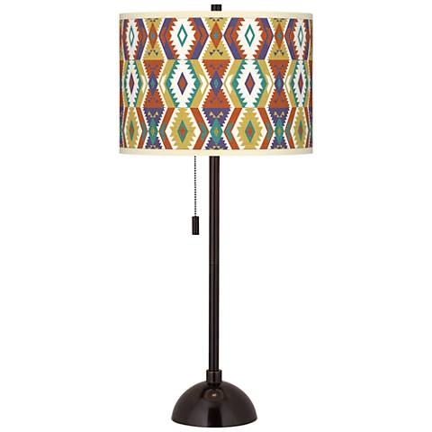 Southwest Bohemian Giclee Glow Tiger Bronze Club Table Lamp