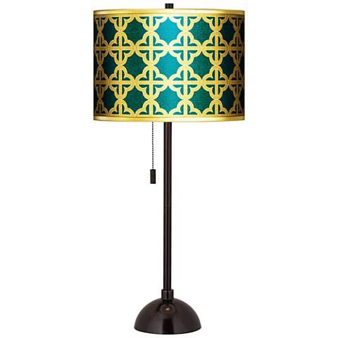 Four Corners Gold Metallic Giclee Tiger Bronze Club Table Lamp