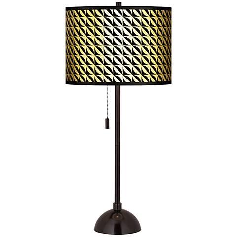 Waves Gold Metallic Giclee Tiger Bronze Club Table Lamp