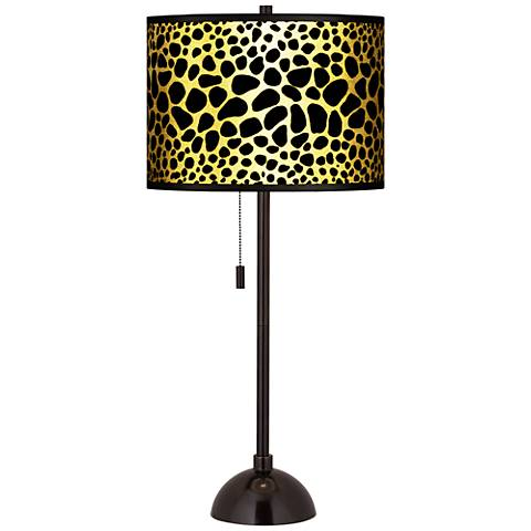 Leopard Gold Metallic Giclee Tiger Bronze Club Table Lamp