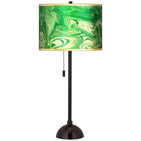 Malachite Gold Metallic Giclee Tiger Bronze Club Table Lamp