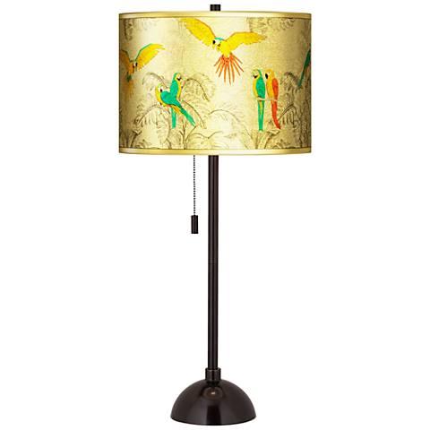 Macaw Jungle Gold Metallic Giclee Tiger Bronze Club Table Lamp