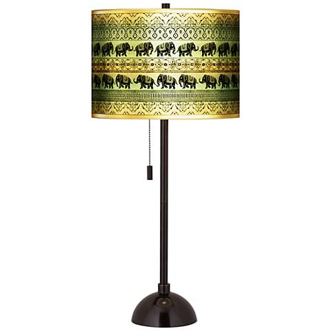 Elephant March Gold Metallic Giclee Tiger Bronze Club Table Lamp