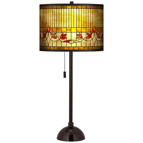 Tiffany-Style Lily Gold Metallic Tiger Bronze Club Table Lamp