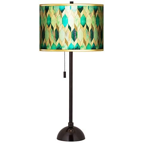 Blue Tiffany-Style Gold Metallic Tiger Bronze Club Table Lamp