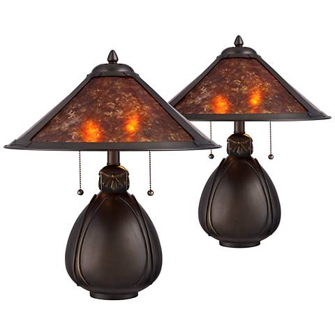 "Nell Bronze Pottery 19"" High Accent Table Lamp Set of 2"