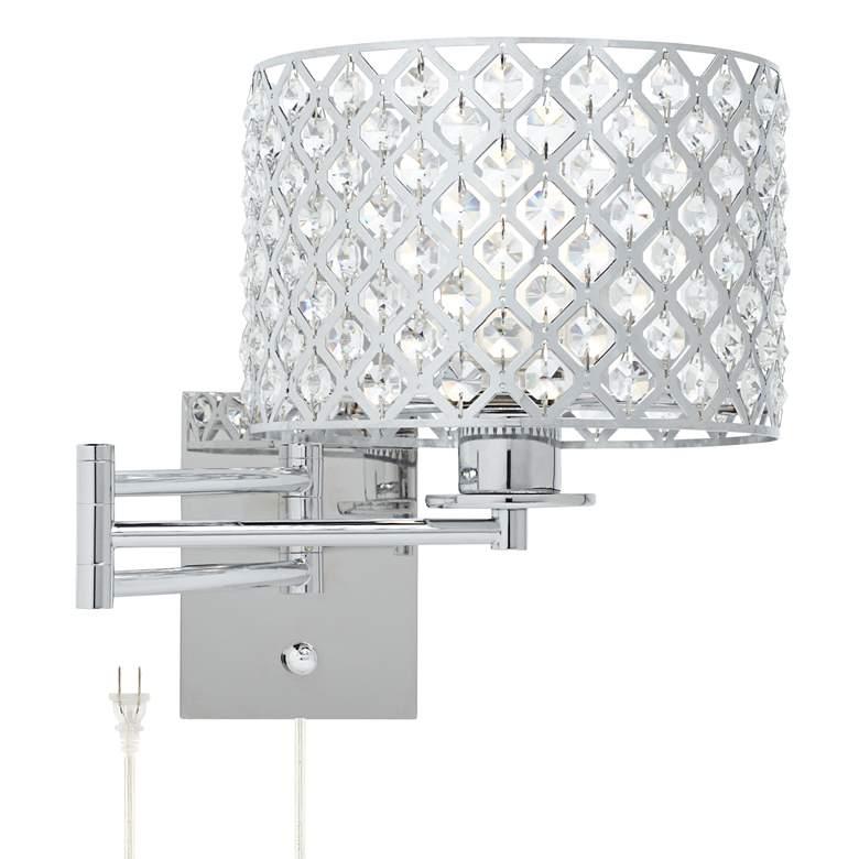 "Possini Euro Glitz 9"" Wide Plug-In Swing Arm Wall Lamp"