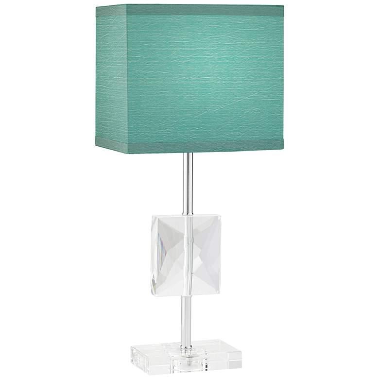 "Clara 18"" high Donna Crystal Teal Blue Accent Table Lamp"