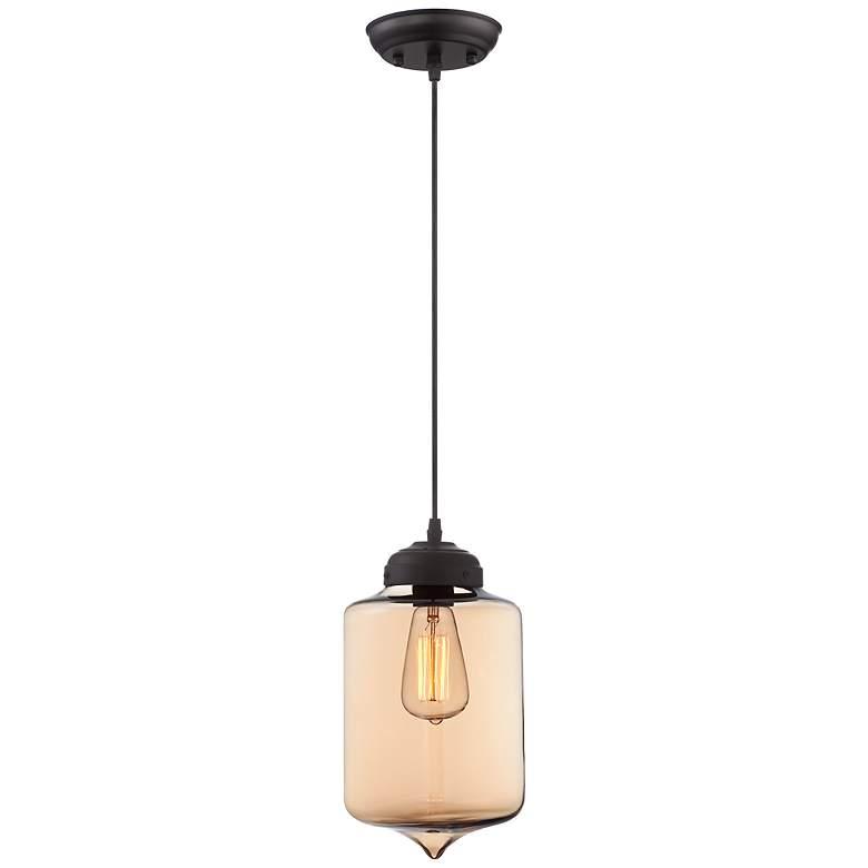 """Possini Euro Design Calico 7"""" Wide Amber Glass Mini Pendant"""