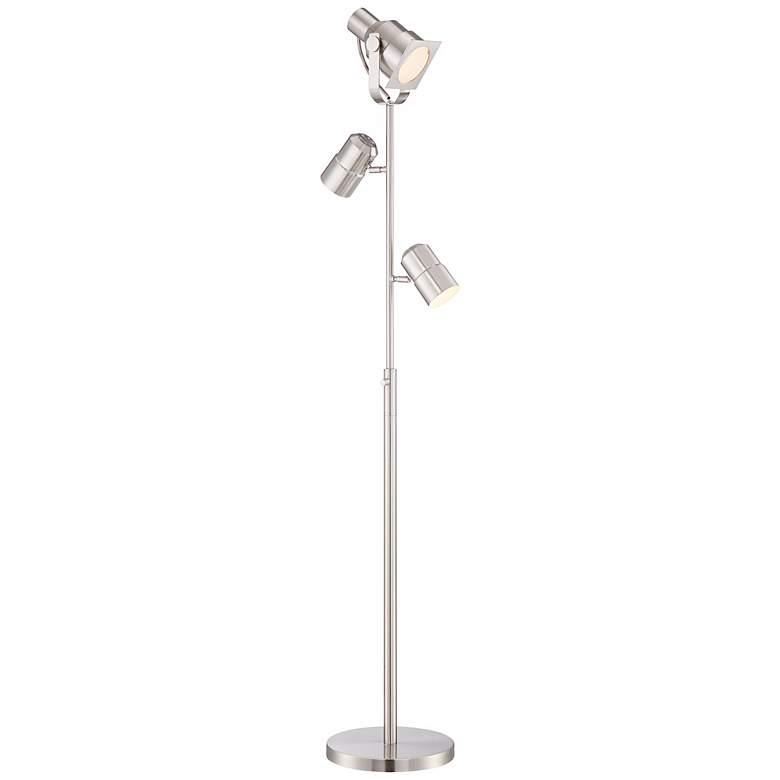 Possini Euro Nuovo Brushed Nickel 3-Light Floor Lamp