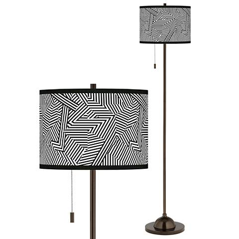 Labyrinth Giclee Glow Bronze Club Floor Lamp