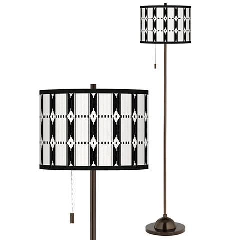 Tribal Weave Giclee Glow Bronze Club Floor Lamp