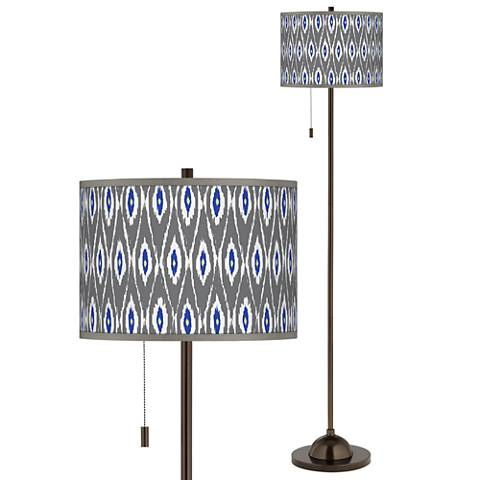 American Ikat Giclee Glow Bronze Club Floor Lamp