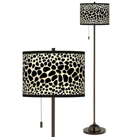 Leopard Giclee Glow Bronze Club Floor Lamp