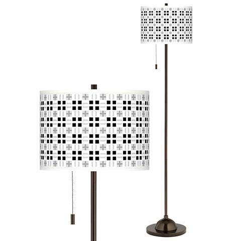 Quadrant Giclee Glow Bronze Club Floor Lamp