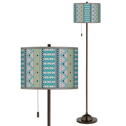 Geo Metrix Giclee Glow Bronze Club Floor Lamp