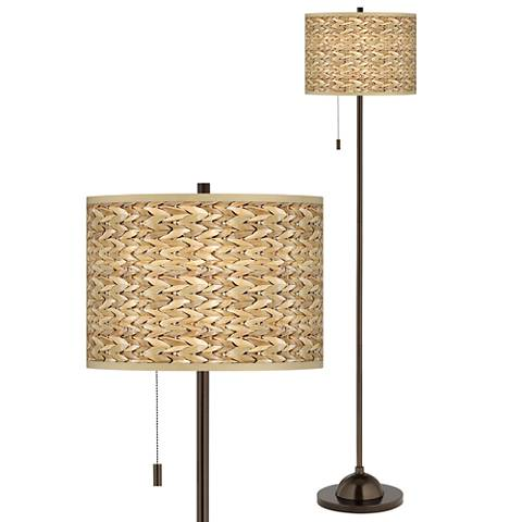 Seagrass Print Giclee Glow Bronze Club Floor Lamp