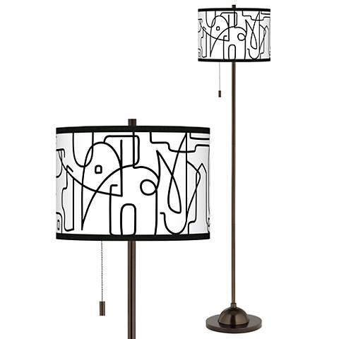 Scribble World Giclee Glow Bronze Club Floor Lamp