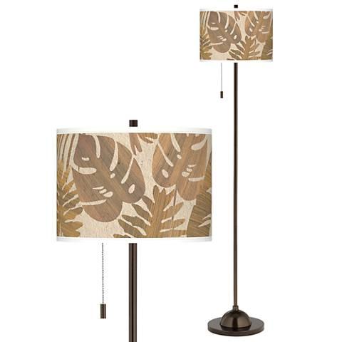 Tropical Woodwork Giclee Glow Bronze Club Floor Lamp