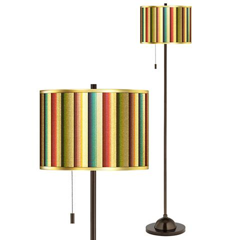Technocolors Gold Metallic Giclee Glow Bronze Club Floor Lamp