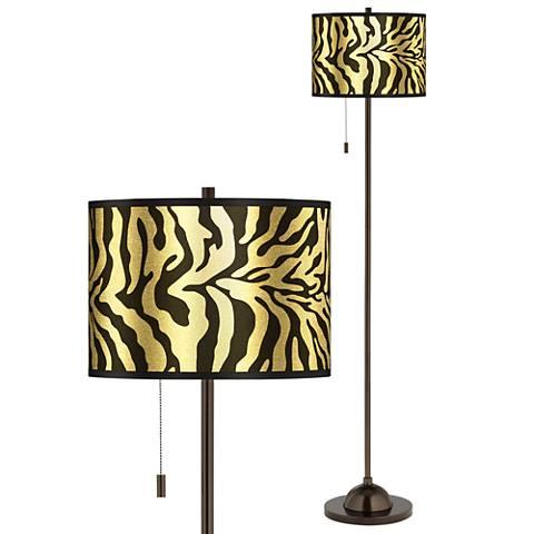 Safari Zebra Gold Metallic Giclee Glow Bronze Club Floor Lamp