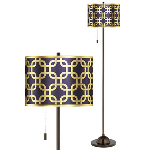Lattice Gold Metallic Giclee Glow Bronze Club Floor Lamp