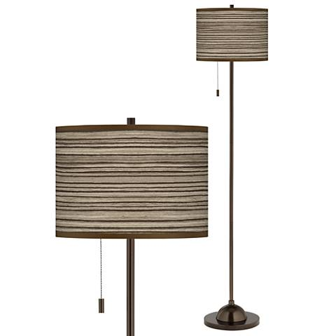 Cedar Zebrawood Giclee Glow Bronze Club Floor Lamp