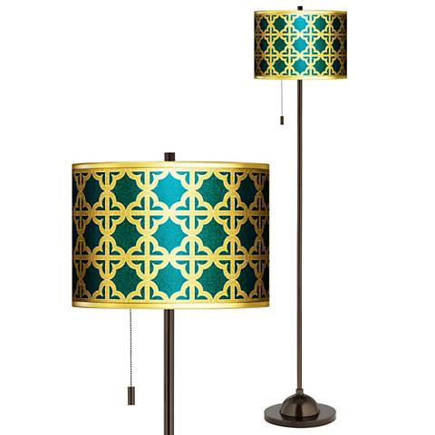 Four Corners Gold Metallic Giclee Bronze Club Floor Lamp
