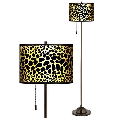 Leopard Gold Metallic Giclee Bronze Club Floor Lamp