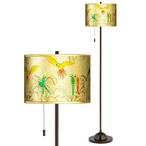 Macaw Jungle Gold Metallic Giclee Bronze Club Floor Lamp