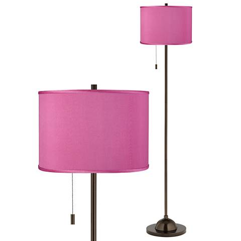 Pink Orchid Faux Silk Bronze Club Floor Lamp