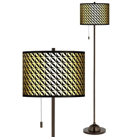 Waves Gold Metallic Giclee Bronze Club Floor Lamp