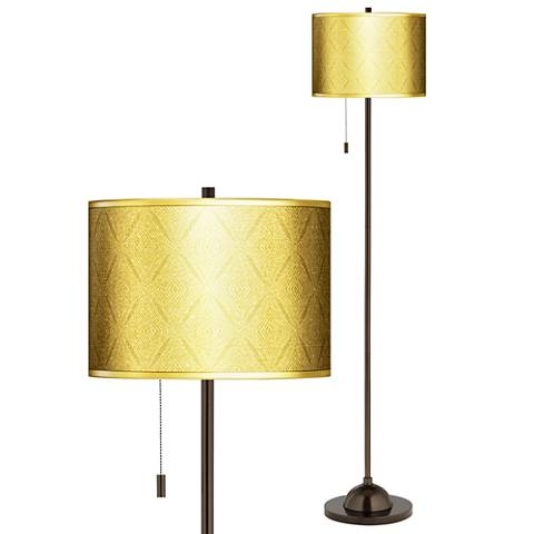 Moroccan Diamonds Gold Metallic Giclee Bronze Club Floor Lamp
