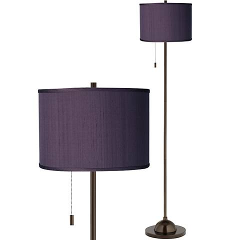 Eggplant Faux Silk Bronze Club Floor Lamp