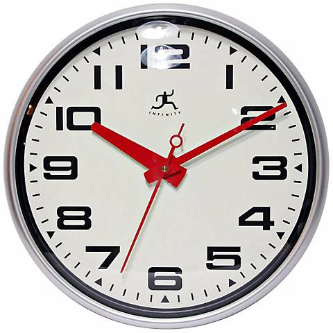 15 Round Red And Matte Silver Wall Clock