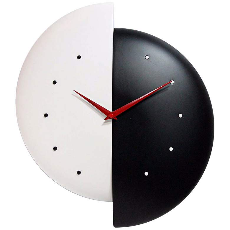 """Half Time 16"""" High Black and White Wall Clock"""